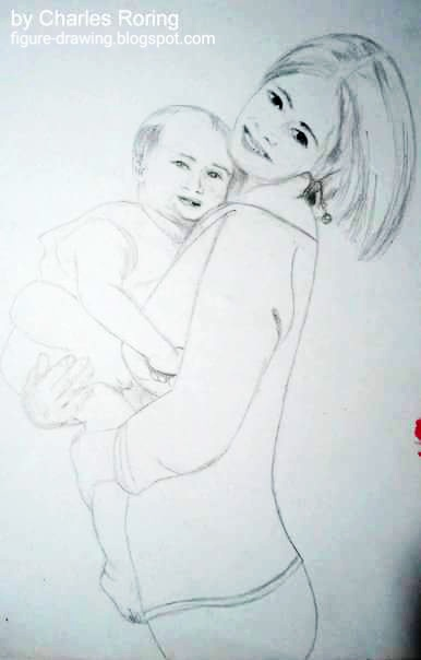 Sketch of a mother holding her baby