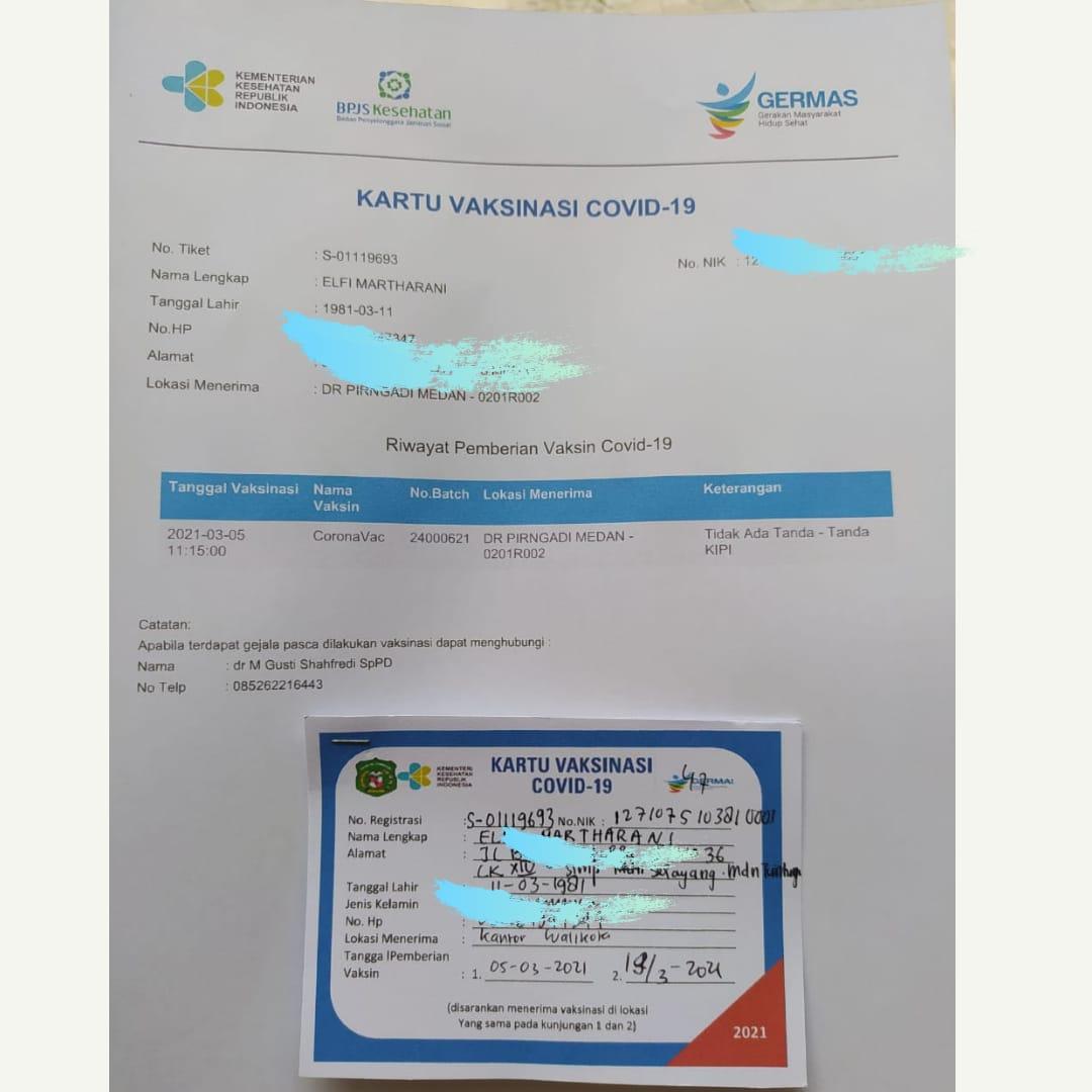 kartu sertifikat vaksinasi covid 19