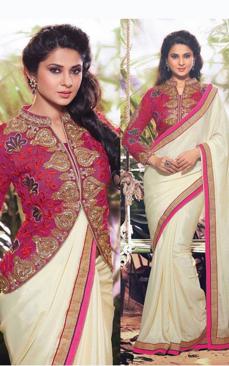 Latest saree blouse design neck - Jacketed Saree Looks Are Trending At The Moment And One Way To Rock This Trend Is To Go For Jacket Blouse Design You Can Get A Short Jacket Stitched And