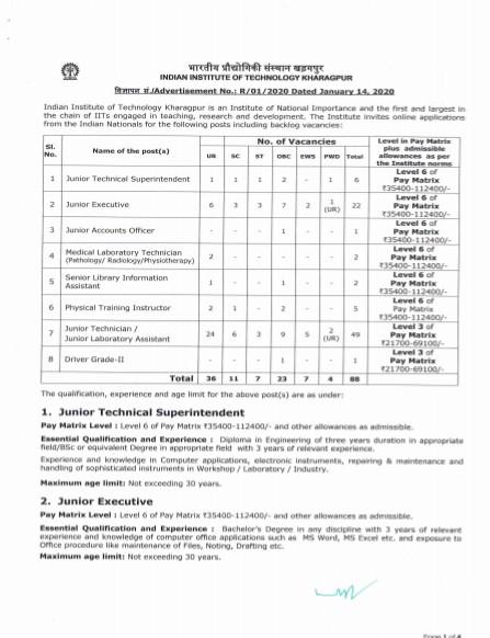 IIT Kharagpur Non Teaching Recruitment