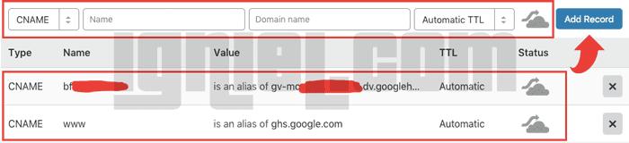 Menambahkan CNAME Blogger di Cloudflare