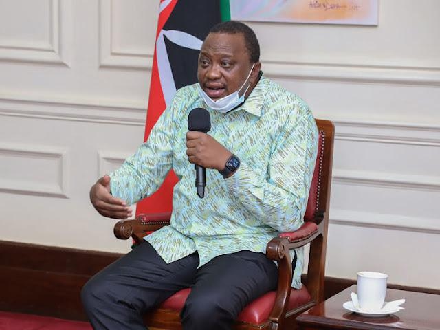 President Uhuru Kenyatta at statehouse. FILE