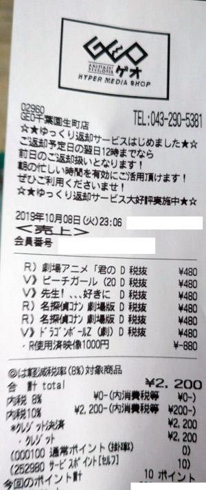GEO ゲオ 千葉園生町店 2019/10/8 のレシート
