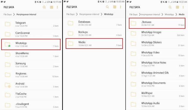 Cara Mengetahui Lokasi File Status Whatsapp
