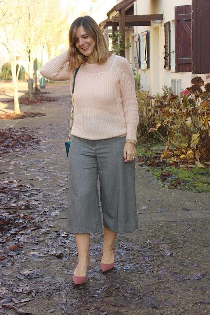 Escarpins Minelli, jupe culotte naf naf, look du jour, les petites bulles de ma vie