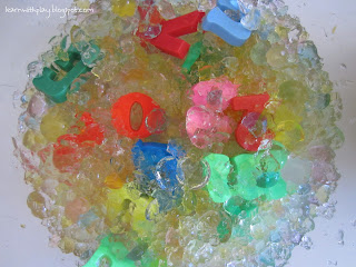 crushed water beads, letter activity