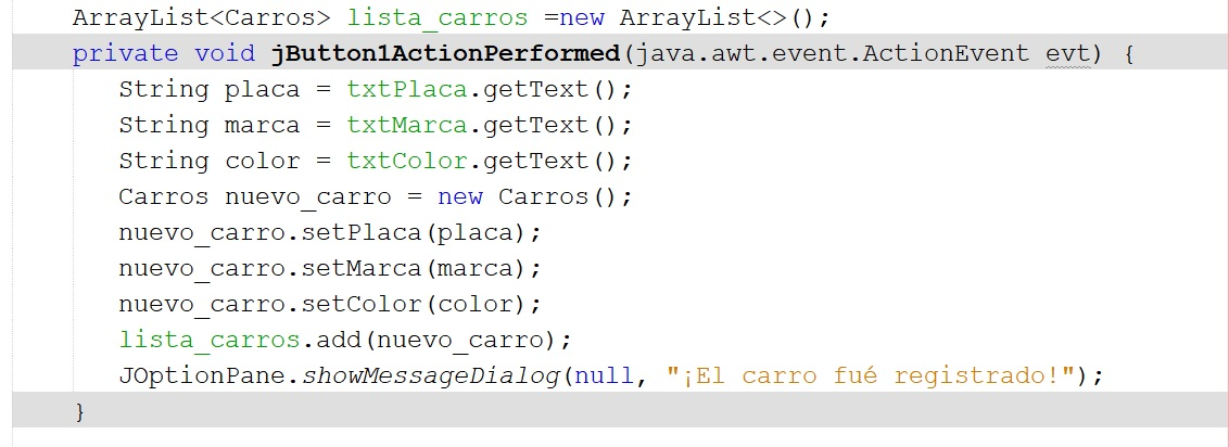 Guardar datos de un JTextField en un Array
