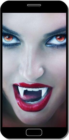Fille Vampire Lèvres Rouges - Fond d'Écran en QHD pour Mobile