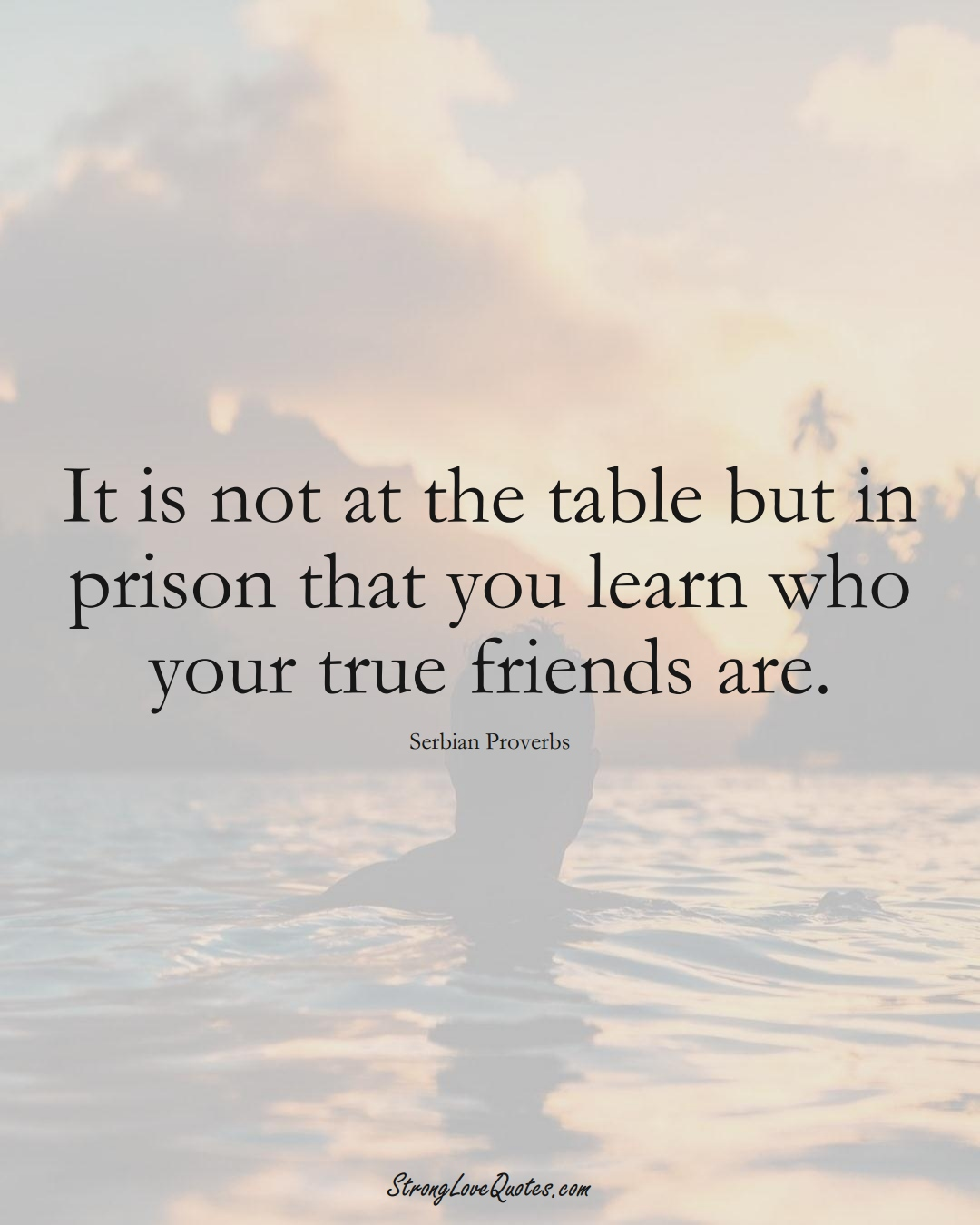 It is not at the table but in prison that you learn who your true friends are. (Serbian Sayings);  #EuropeanSayings