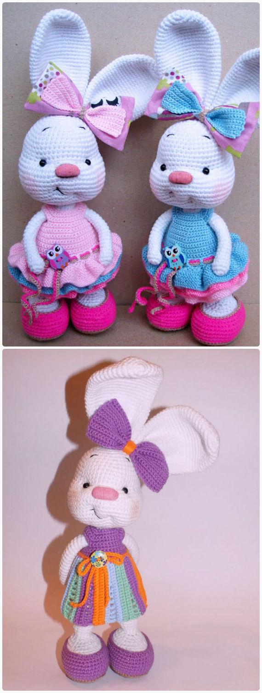 Pretty Bunny amigurumi in pink dress | Easter crochet patterns ... | 1500x570
