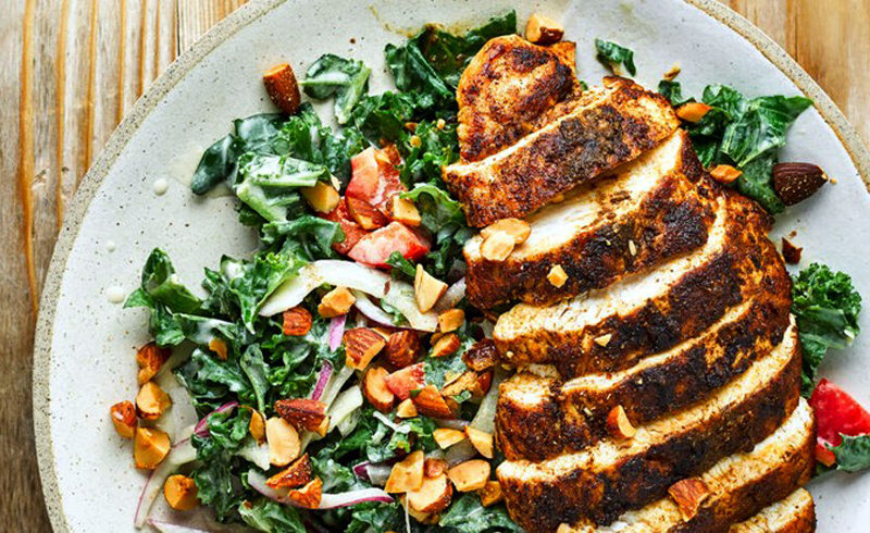 Cumin-crusted Chicken With kale Salad and Hummus Dressing