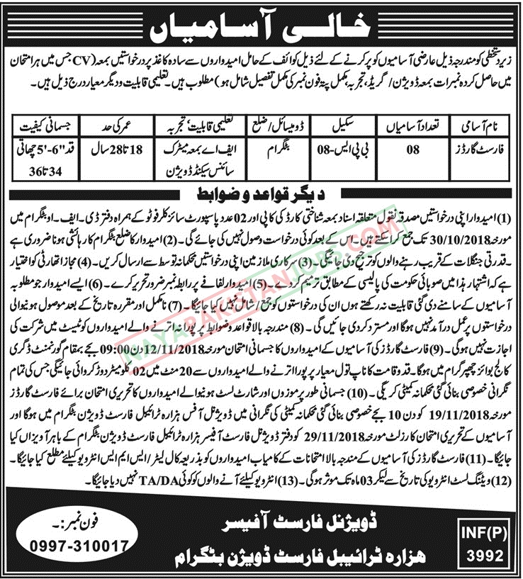 Latest Vacancies Announced in Forest Department Govt Of Khyber Pakhtunkhwa Hazara Division 17 Oct 2018 - Naya Pakistan