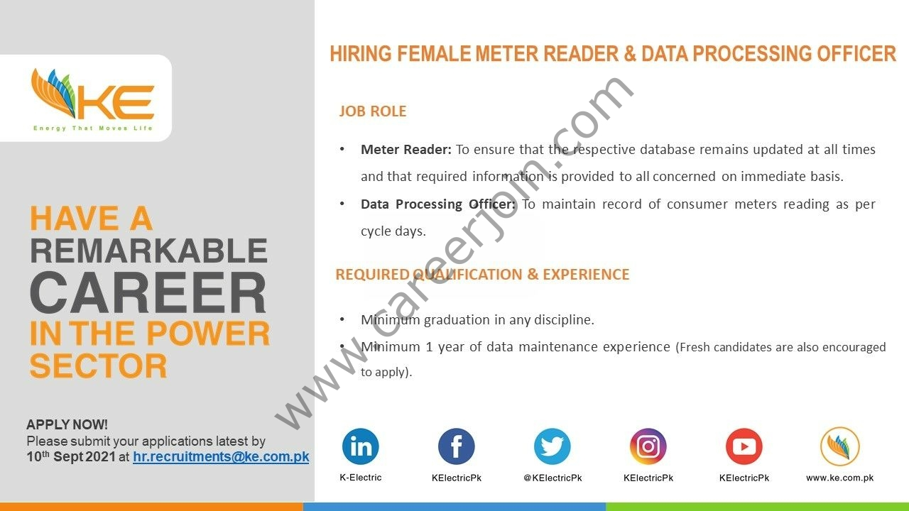 K-Electric Jobs Female Meter Reader & Data Processing Officer