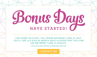 Bonus Vouchers available when you shop Stampin' Up! UK here in July