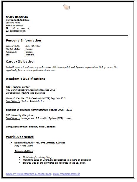 professional curriculum vitae samples