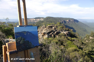 On-site Devils Hole, Blue Mountains plein air oil painting by Andy Dolphin.