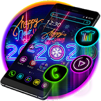 Happy New Year 2020 Neon Black Theme Apk for Android