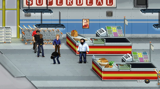 Bud Spencer & Terence Hill - Slaps and Beans -  Terence kicked the balls of a thug in a supermarket