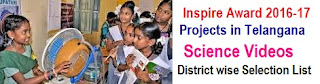 TS Inspire Award District wise Selection List 2018-19 in Telangana Schools