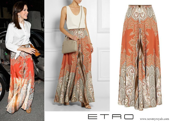 Crown Princess Mary wore Etro Printed Silk Crepe Maxi Skirt