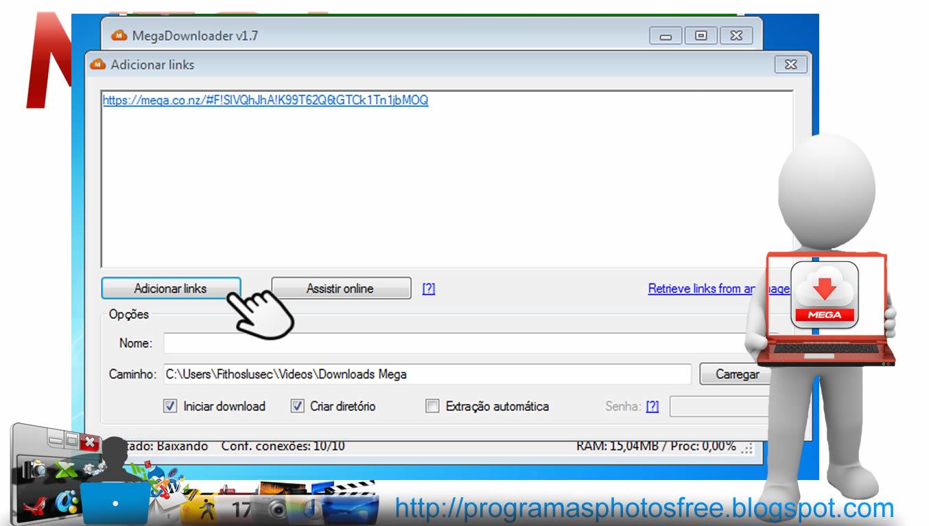 Downloads ilimitados pelo mega usando MEGADownloader Vol.1.7 - Programas Free