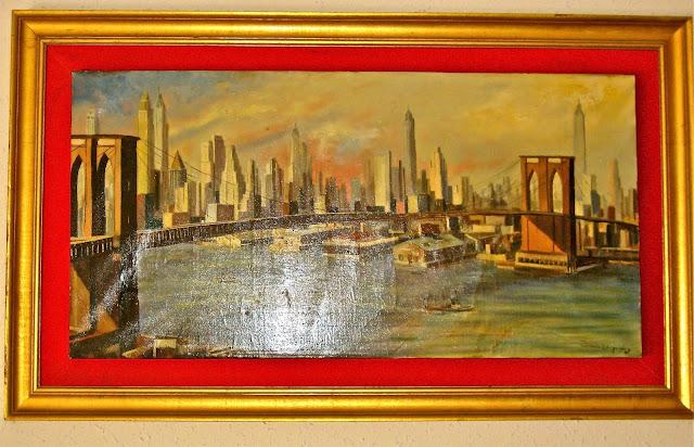 Cuadro Puente de Brooklyn. Oleo original año 1967