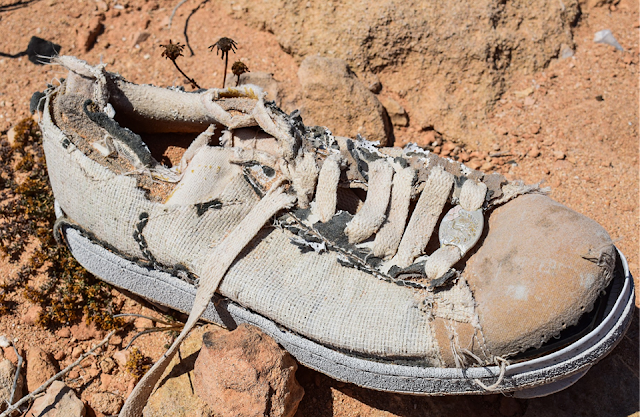 Tattered white tennis shoe with soul coming off on red-clay dirt.