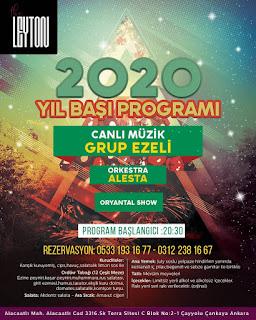 Leyton Restaurant Ankara Yılbaşı Programı 2020 Menüsü