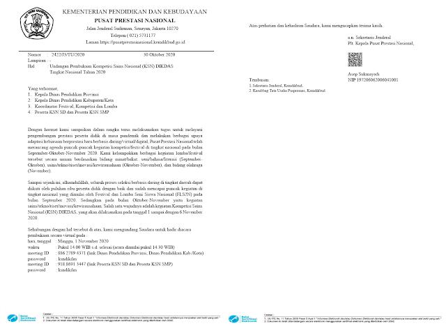 surat undangan link zoom pembukaan kompetisi sains nasional jenjang sd smp tahun 2020 pdf tomatalikuang.com