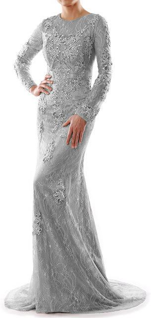 Lace Silver Mother of The Bride Dresses