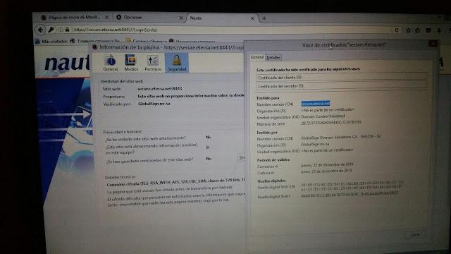 Acceso a la plataforma Nauta, SSL
