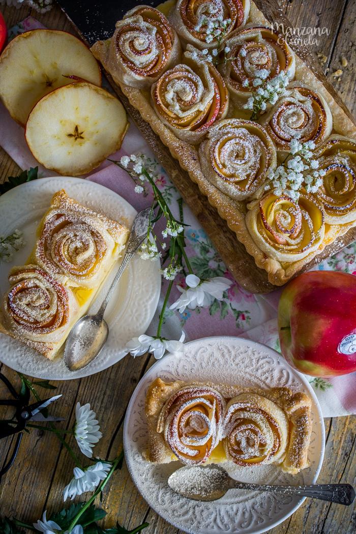 Tarta de rosas de manzana. Receta de San Valentín.