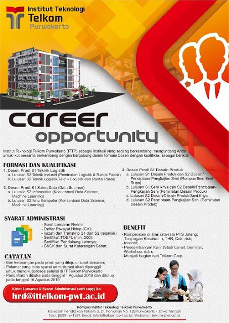 Lowongan Kerja Institut Teknologi Telkom Purwokerto Agustus 2019