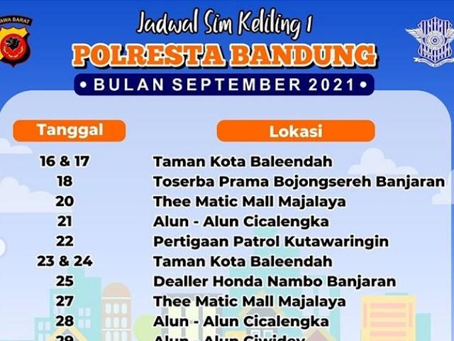 Jadwal Layanan SIM Keliling Polresta Bandung Bulan September 2021