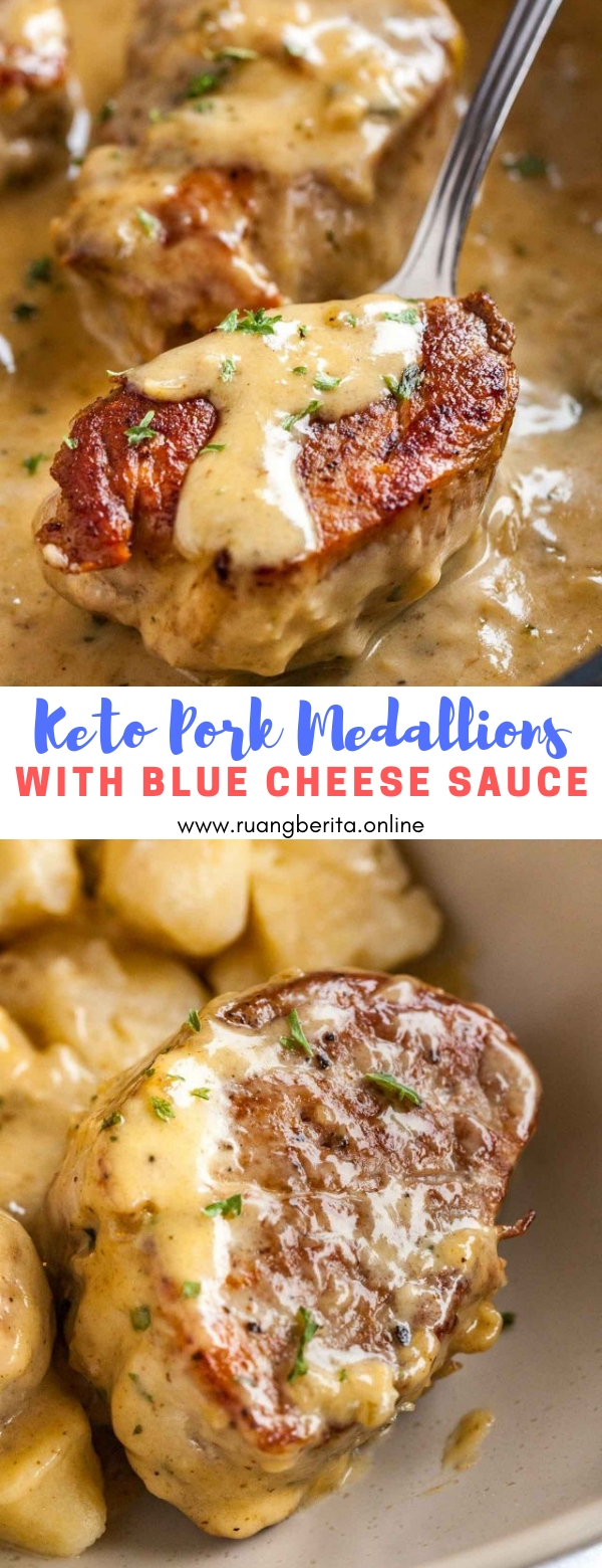 Keto Pork Medallions with Blue Cheese Sauce #dinner #keto #pork #medallions #blue #cheese #sauce