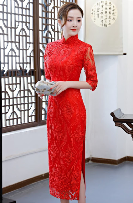 Women's Elegant Lace Cheongsam Dresses