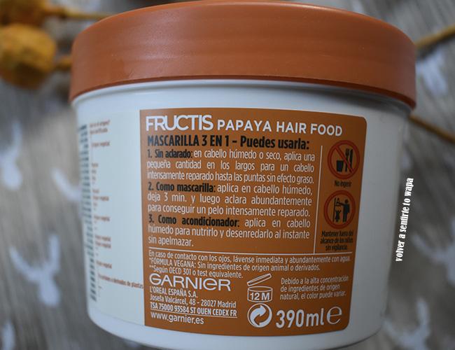 Mascarilla Reparadora Hair Food Papaya de Fructis de GARNIER