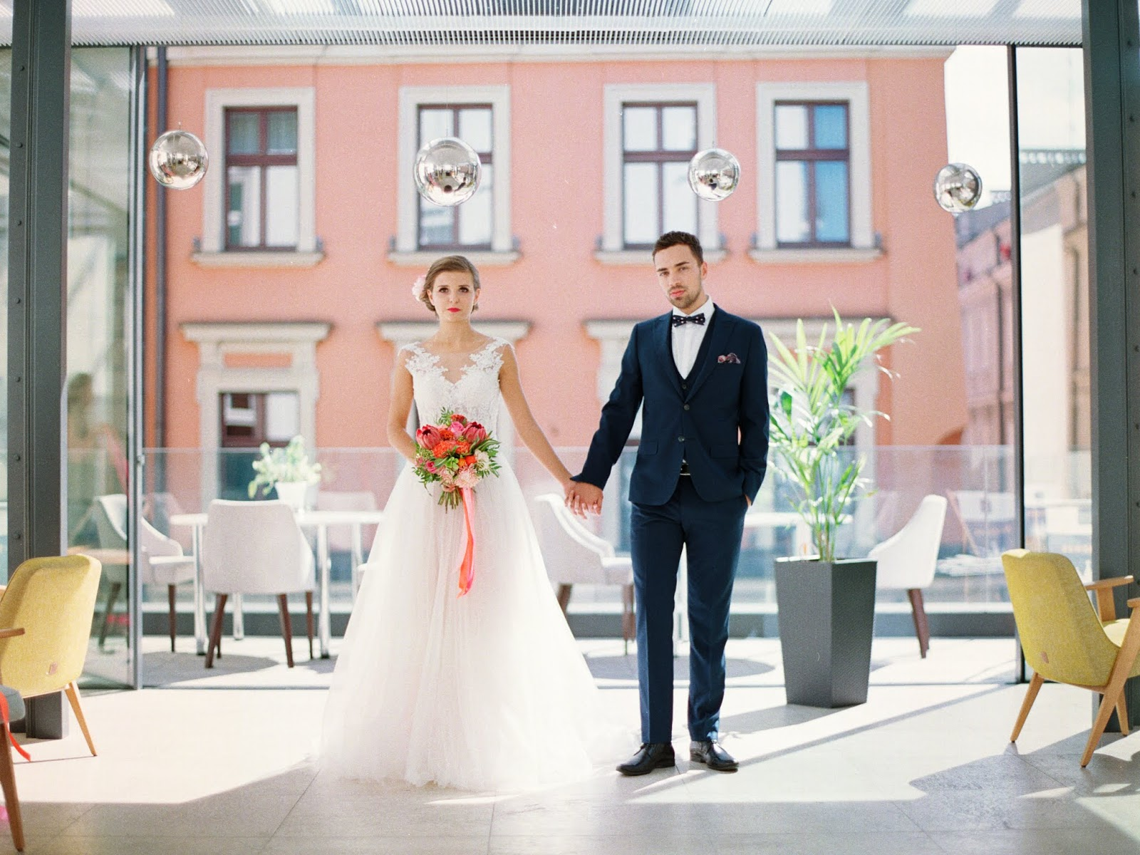 Różowy jako kolor przewodni ślubu.