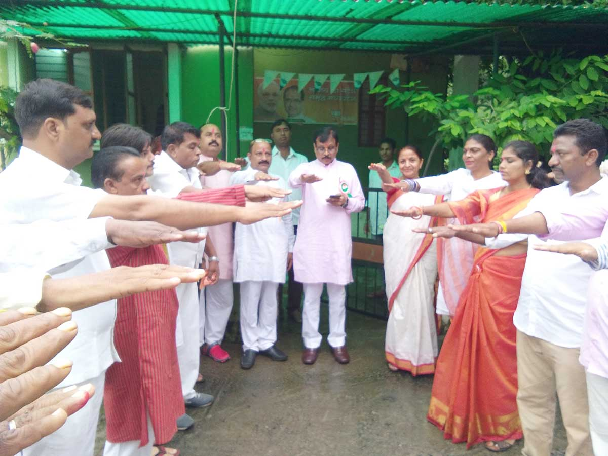भारतीय जनता पार्टी ने ध्वजारोहण कर मनाया जश्ने आजादी