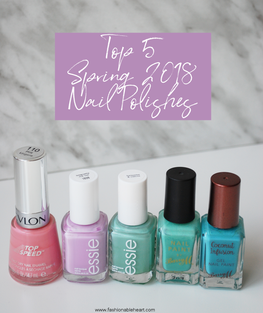 bbloggers, beauty blogger, beauty blog, canadian beauty bloggers, nail polish, top 5, spring, nail paint, revlon, top speed, pink lingerie, essie, baguette me not, turquoise and caicos, turquoise & caicos, barry m, mint green, scuba, coconut infusion, pastels, pink, lilac, purple, turquiose, teal, mint, sky blue