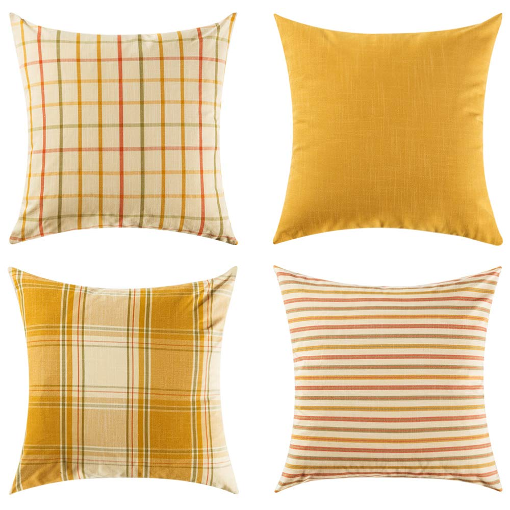 Fall Yellow Plaid Throw Pillows