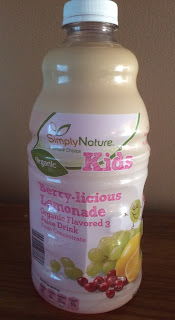 A bottle of Simply Nature Kids Berry-Licious Lemonade Organic Juice Drink, from Aldi