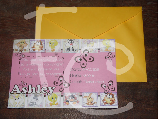 Convite Baby Looney Tunes - Rosa e Amarelo