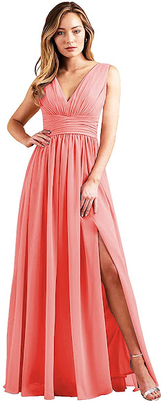 Long Coral Chiffon Bridesmaid Dresses