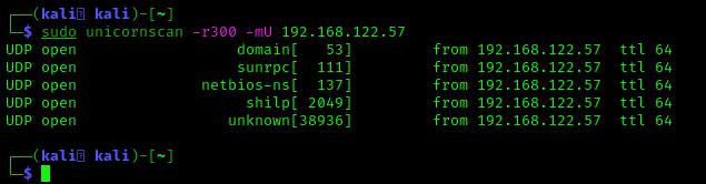 unicornscan UDP ports