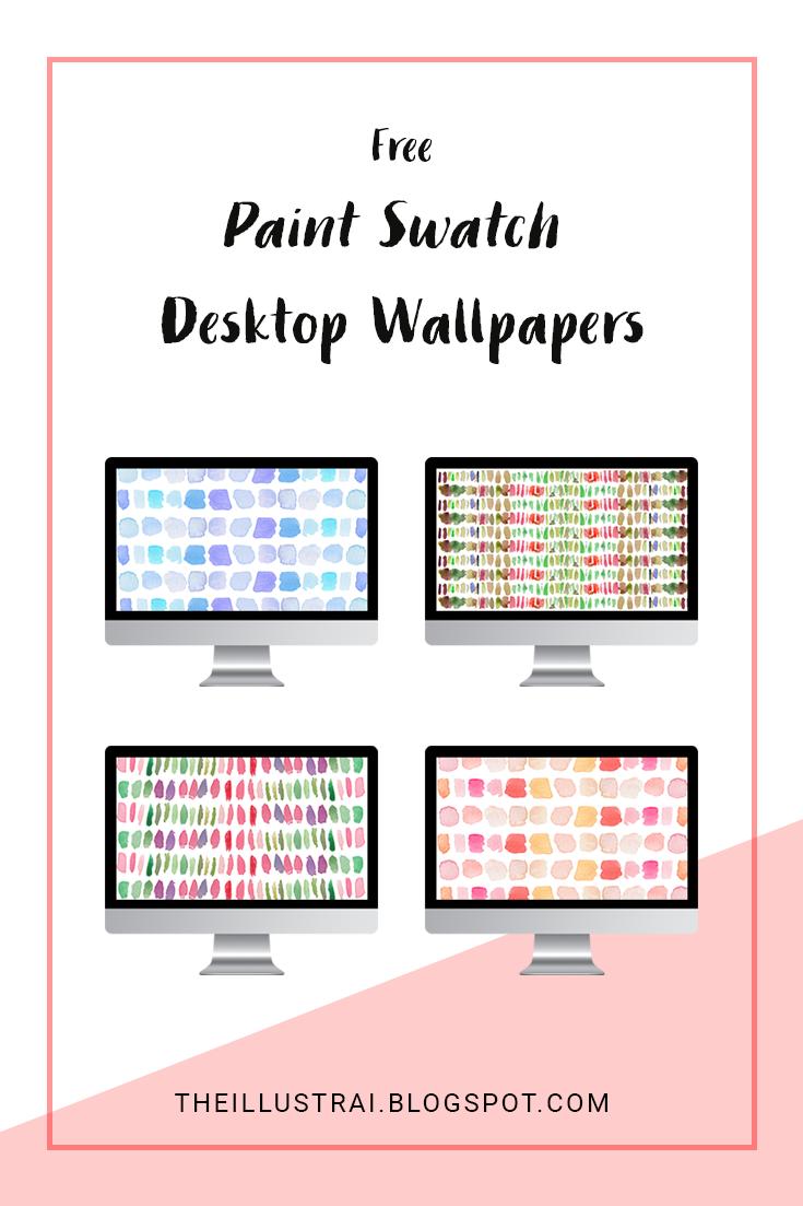Download four free watercolor paint swatch desktop wallpapers