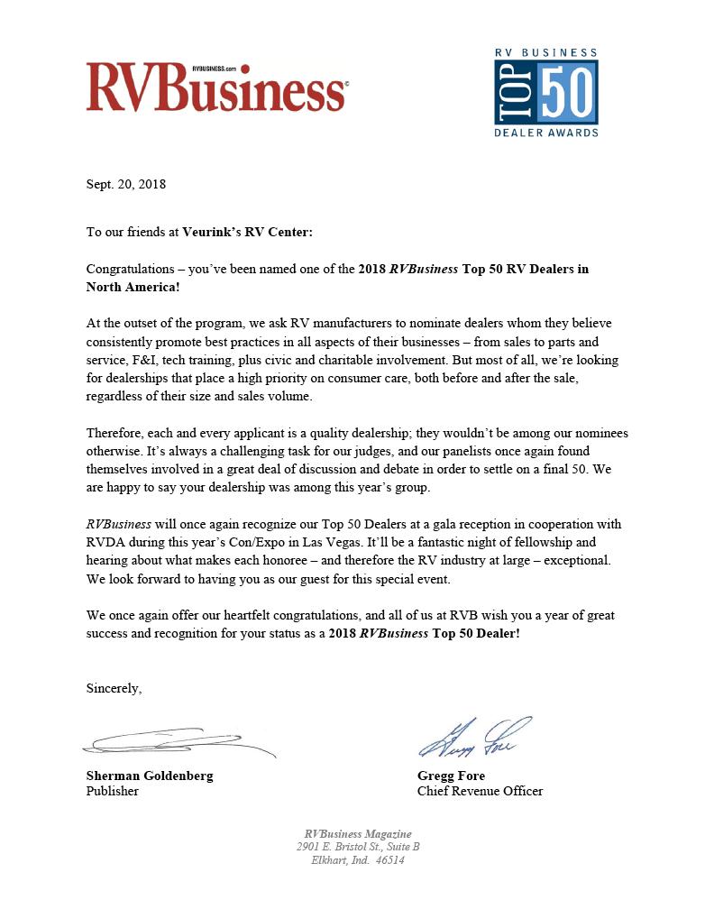 WE'RE CELEBRATING! | 2018 RV BUSINESS TOP 50 RV DEALER | Veurink's