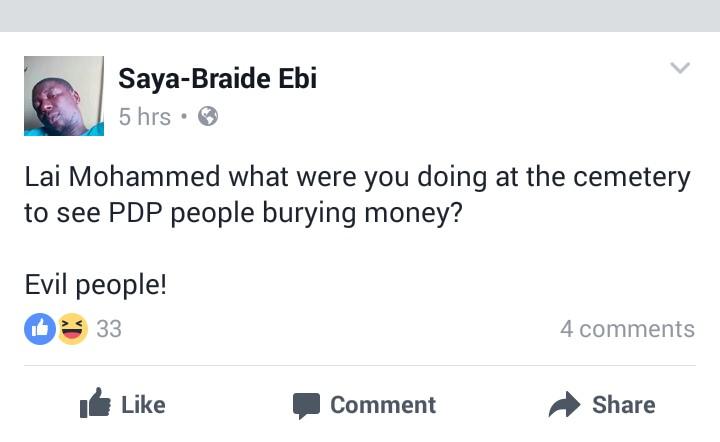 Facebook screenshot on Lai Mohammed