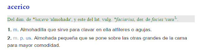 Definición de la RAE de la palabra Acerico