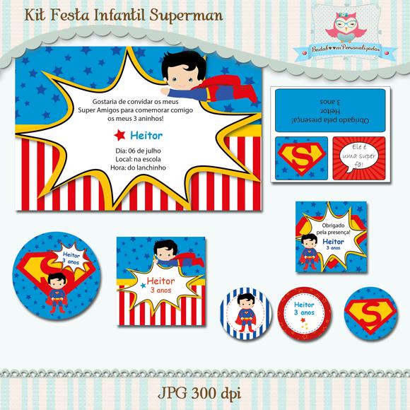 kit festa, festa, infantil, arte, digital, convite, solapa, lapela, heroi, superman, super homem, tag, rotulo, topper, papelaria, personalizado